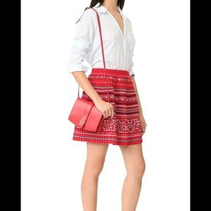 Club Monaco Olla embroidered pleated mini skirt